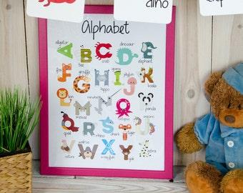 Animal alphabet poster Abc print Nursery alphabet print Printable alphabet art Nursery decor Kids room Alphabet wall art Kid gift - DIGITAL