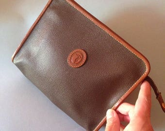Trussardi brown vegan leather zipper pouch/Clutch/Small bag/Necaissaire Trussardi/early 90s vintage/Elegant and practical accessory pouch