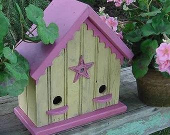 Cottage Birdhouse, Outdoor Garden Decor,  Functional Birdhouse, Outdoor Birdhouse, Yellow and Pink