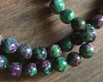 8mm Ruby Zoisite Gemstone Beads