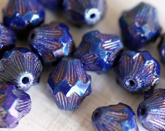 Czech Glass Beads - Blue Iris Baroque Bicones - Faceted Bicones - Bicone Beads - Deep Red - Bead Soup Beads