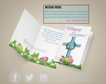 "Greeting Card - 8.5""x11"" Half Fold - EASTER - OUTSIDE-Happy Easter - INSIDE-Inspirational Message - Cross"