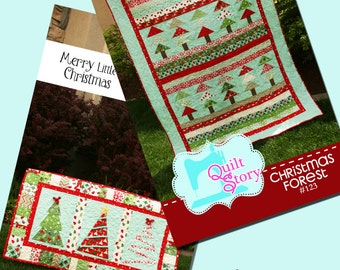 PDF Quilt Pattern / Modern/ Easy / Christmas Forest / Merry Little Christmas