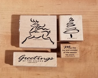 Stampin' Up Retired Set - 1999 Reindeer Greetings - Rubber Stamp Set of 4 -RS-110