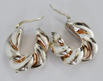 Bold 80's Jacmel Mauritius sterling & rose gold vermeil accents chunky twist hinged hoops, handsome JCM 925 silver edgy statement earrings