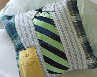 Tailored SHIRT & NECKTIE PILLOW Cover, Striped Old Navy Hilfiger Black Green Tie on Plaid Flannel, Upcycled Guy Fiber Art Fathers Day Memory