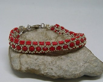 Red and silver hand-woven bracelet