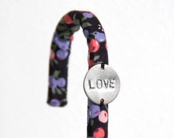 Crochet tissu Noir Baies Roses Violet // LOVE // Patère Femme // Chambre Salle de bain Peignoir Serviettes Pyjama Bijoux // CRO24