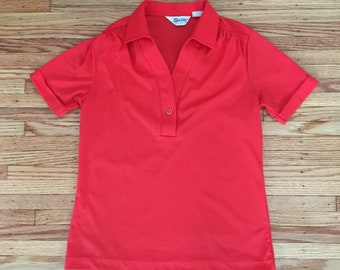70's Size Large Red Polo Stylr Shirt Polyester