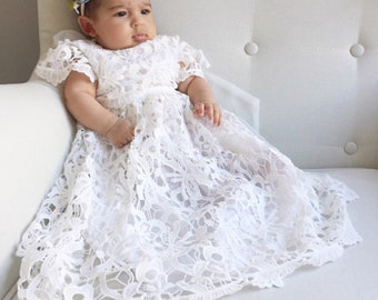 Stunning and Beautiful White Lace baptism dress Christening dress Baby Lace Dress lovely Capp Sleeve long length