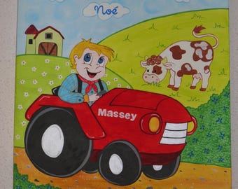 """original acrylic painting """"little farmer and his cow"""""""