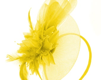 Yellow Flower Veil Feathers Fascinator On Headband Wedding