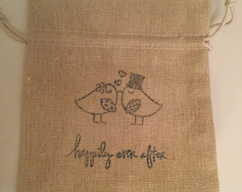 Set of 25 Happily Ever After wedding favor muslin bags
