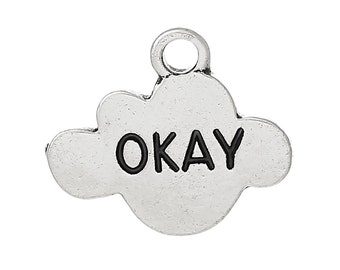 "2pc Antique Silver Fault In Our Stars ""Okay"" Pendants - 17x14mm - Charm, Jewelry Finding, Jewelry Making Supplies, Ships from the USA - O53"