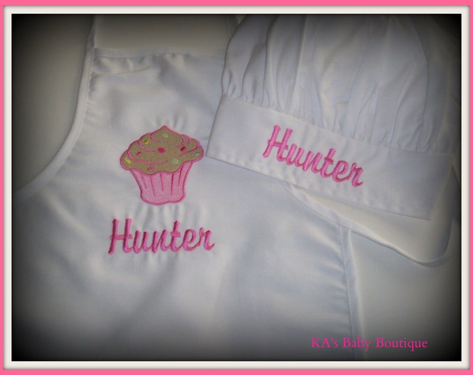 Child's personalized cupcake apron and chef hat set - Embroider kid apron and chef hat - personalized apron - monogrammed apron - Cupcake
