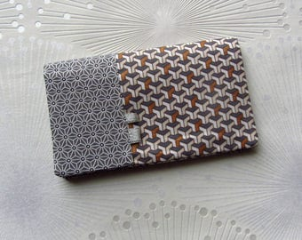 Geometric fabric checkbook cover, checkbook holder fabric Japanese sanoha, grey, beige and copper fabric checkbook checkbook woman