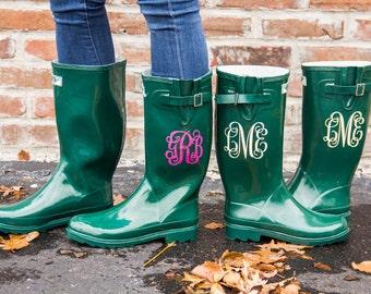 Green Rainboot w/ Monogram- Sorority Gift, Bridesmaid Gift, Graduation Gift, Birthday Gift, Gifts For Her, Rainwear, Personalization