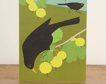 Gooseberry thieves blackbirds greetings card