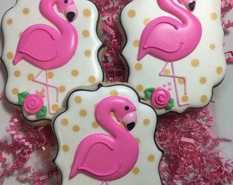 Flamingo Decorated Sugar Cookies, Flamingo Party Favors