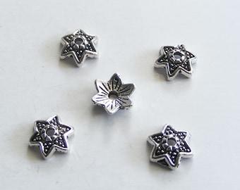 Antique Silver Flower Bead Caps 10mm (30 pcs) MW-P1512
