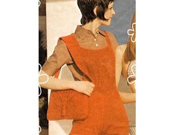 Digital Download PDF Knitting Pattern to make Bib & Brace Womens Dungaree Shorts Playsuit Beach Hot Pants 4 Sizes 34 to 40 inch hips