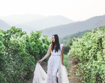 Ombre wedding dress, Flowy wedding dress, Silk wedding dress, Pink wedding dress, Boho Colored wedding dress, Boho dress, 0050 // 2016