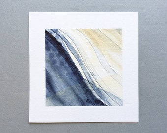 Original Abstract Watercolor Painting, Small Artwork Minimalist Art for Bedroom Wall Decor, Navy Blue Gray Cream, 5x5 Inches Square Painting