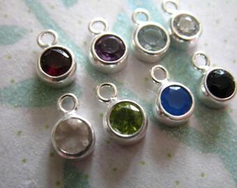 Gemstone Connectors Pendants Charms,. Bezel Set, 8.5x5.5 mm, 925 Sterling Silver, pick, petite birthstone gcp2 gp ll