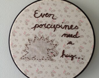 hedgehog, embroidery, porcupines, home decor, quotes,