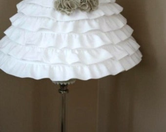 White ruffle with pom pom flowers lamp shade  FREE SHIPPING!!!