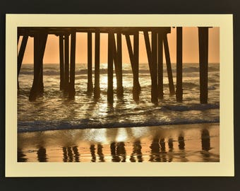 Photo Note Card, Pier Reflection, Huntington Beach Pier, Photo Greeting Card, Beach Note Card, Note Card with Envelope, Handmade Note Card