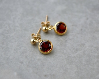 Garnet Stud Earrings, Post Dangle Earrings, January Birthstone Jewelry, Gemstone Stud Earrings, Gold Filled Red Stud Earrings, UK, Wife Gift