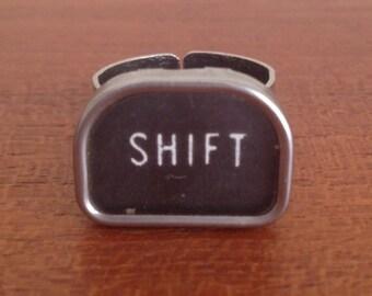 CLEARANCE!Vintage typewriter ring / tombstone shape key / Shift vintage key / adjustable statement ring/ steampunk ring / typewriter jewelry