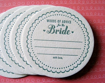 Letterpress Coaster Set - advice for the bride (set of 30)