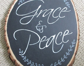 Grace and Peace Chalkboard Rustic Tree Slice - WORD Art Wall Art