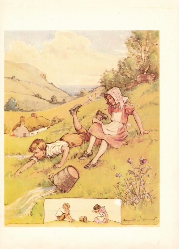 """Illustration of nursery rhyme """"Jack and Jill"""" by Margaret Tarrant, 12 x 9 inches, 1950 book illustration"""