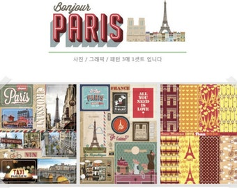 Bonjour Paris Sticker Set - Colourful Paris/France Stickers