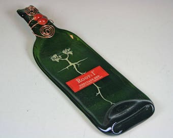 Melted Wine Bottle, Slumped Wine bottle, Slumped,Root:Heritage Red Melted Wine Bottle Cheese Tray, Gift for Wine Drinker