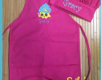 Shopkins Personalized Kids Child Girls Kitchen Chef Hat Bakery Apron Pink
