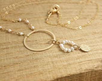 Necklace with Pearls, a 14k Gold-Filled Loop and Hammered Disc, Wire Wrapped to a Gold Filled Chain GCDN-36