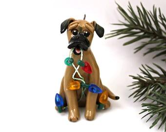 Black Mouth Cur Dog PORCELAIN Christmas Ornament Figurine Handmade