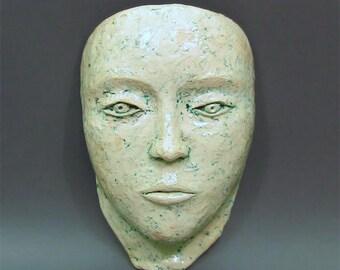 FAITH - Female face mask, ceramic mask, wall hanging sculpture, wall decoration,ceramic sculpture, ceramic art, handmade female face