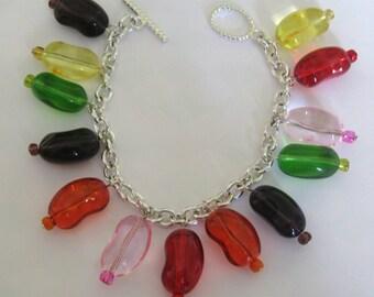 Jelly Bean Charm Bracelet  Jewelry  Candy Charm Bracelet Handmade