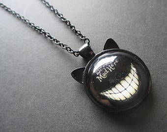 We're All Mad Here Black Cat Ears Necklace, Alice in Wonderland, Cheshire Cat, Fairytale