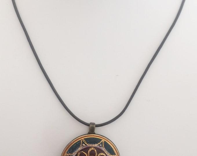 Czech Glass Button Pendant
