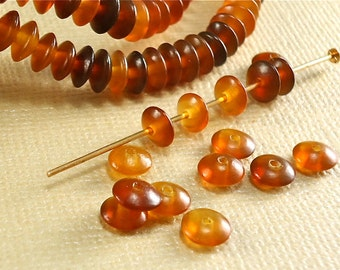 30 Horn Beads Golden Amber Color 6mm x 3mm Spacer disk  Natural Animal Real Horn beads