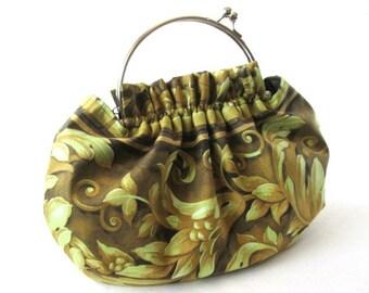 Green frame handbag, frame clasp purse, removable silver bag frame, green cotton fabric frame bag, ruffled bag