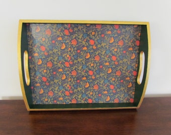 Forest Green Tray with Gold Trim and Floral Pattern