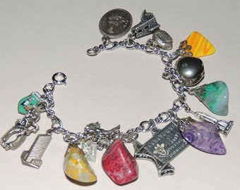 Old Sterling Silver and stone Charm Bracelet