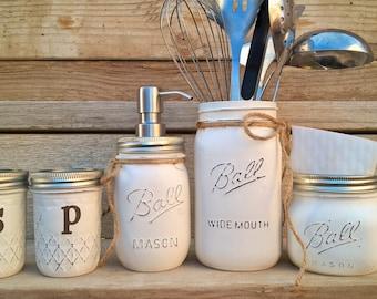 Mason Jar Kitchen Set-Rustic Kitchen-Salt and Pepper Shakers-Southern Kitchen Decor-Farmhouse Decor-Primitive-Housewarming-Country Decor